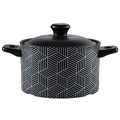 Heat-Resistant Sustainable Pan,Ceramic Pan Dish with Lid,Great for Braising Slow Cooking Slow Simmering Soup Pot 2.5l