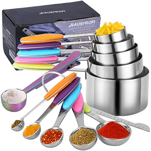 HAUSPROFI Edelstahl Messbecher und Löffel mit Meßlineal, 5 Measuring Cups 5 Messlöffel 1 Messlineal (Richtmaschine) 1 scop mit Clip, mit Silikon Griff für Küche Kochen Backen, 12er-Set