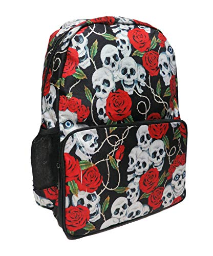 SKULL ROSES RED WHITE Backpack Rucksack School College Check EMO GOTH Mod Laptop Bag