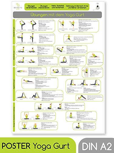 beneyu ® Yoga Poster für Yoga Gurt mit Yoga Asanas in Deutscht, DIN A2 (60x42cm) Klimaneutrale Produktion (auf A4 gefalzt) (gefalten, DIN A2)