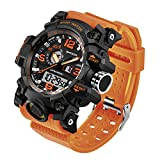 Taffstyle Herren-Armbanduhr Digital mit Silikon-Armband Chronographen Wasserdicht Stopp Alarm Flieger Piloten Uhr Sportuhr Quarz Orange