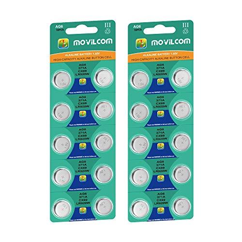 MovilCom® - 20 Knopfzellen AG6 Uhrenbatterien 1,5 V ersetzt 371, SR920SW, V371, D371, S921E, 605, SR921, LR921, SR69