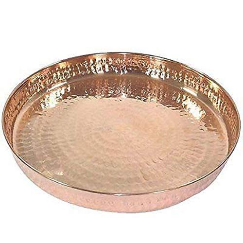 ABN Fashion Indian Pure Copper Martillado Vajilla Thali Vajilla de 14 pulgadas