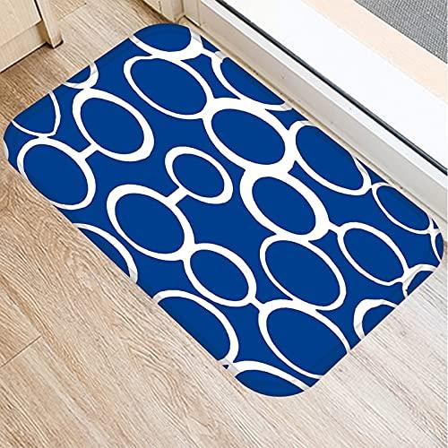 OPLJ Alfombrilla de Cocina con patrón geométrico Azul, Alfombrilla de Puerta de Entrada para decoración de Interiores, Alfombra Absorbente Antideslizante para baño A2 50x80cm