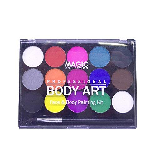 TOOGOO Pigmentos de pintura de cuerpo soluble en agua Copa mundial Kit de pintura facial profesional 15 colores para la diversa fiesta