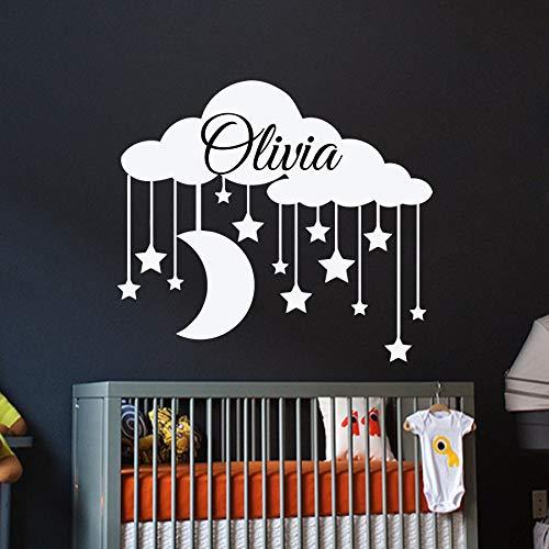 Geiqianjiumai Wolke Vinyl Wandaufkleber benutzerdefinierte wasserdichte Aufkleber Kindergarten Wandtattoos abnehmbare Wandkunst Dekoration 75.6X86.4CM