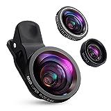 3 in 1 Handy Objektiv Set : Inklusive 0,4X, 140° Super Weitwinkelobjektiv + 180° Fisheye Objektiv + 10X Makroobjektiv, können Sie genießen die hohe Qualität der technischen Bilder. Jeder kann ein Fotograf in Ihrem Leben! Fisheye Objektiv & Makroobjek...