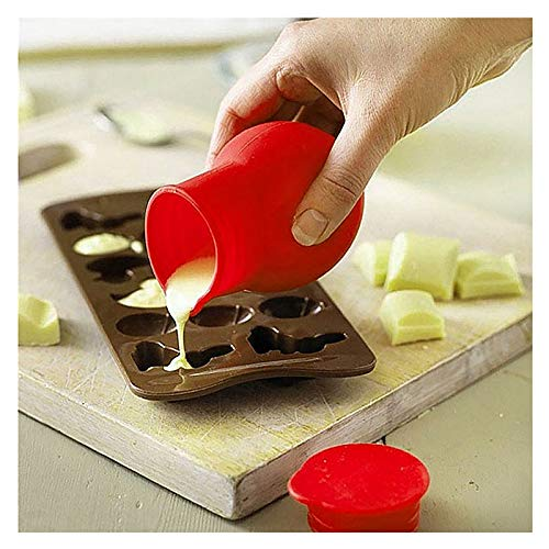 Silicone Rubber Chocolate Melting Pot, Universal Baking Pouring Tools Nonstick Melting Kit in Microwave for Butter Sauce Milk Cheese and Caramel Pouring Tool (red)