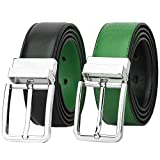 Falari Men's Dress Belt Reversible Genuine Leather Belt Enclosed in Gift Box (L 38-40, 9023-Black/Kelly Green)