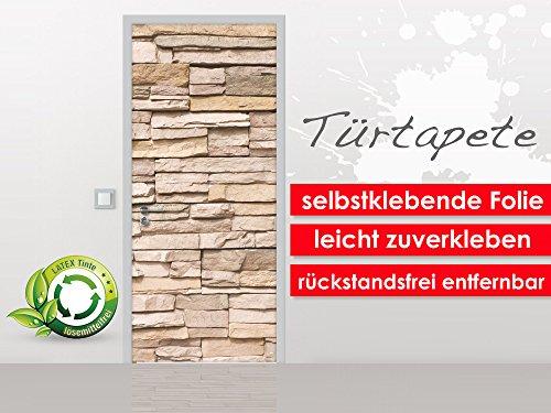 XXL-behang deurbehang Stonewall 90 x 210 cm - zelfklevende premium folie - gemakkelijk te plakken zonder luchtbellen van trendy muren