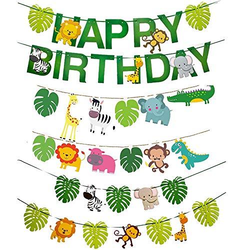 KtdaysB Dschungel-Geburtstag Party-Dekoration, Alles Gute zum Geburtstag Banner, Safari Jungle Animal Banner Früher Papier Girlande Girlande Set Waldthema Geburtstag Festival Party Dekoration