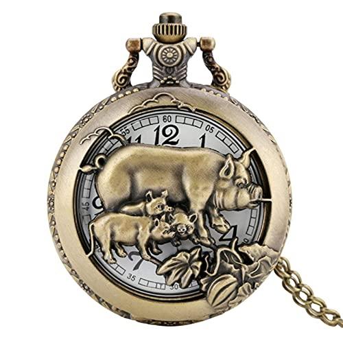 Rétro Bronze Zodiaque Chinois Montre De Poche Pendentif Montre Creux Collier Chaîne Art Collection Cadeaux, Cochon