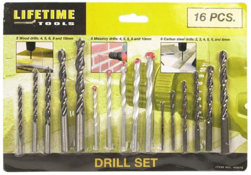 16 Piece Assorted Drill Bit Set for wood, Masonry & Metal