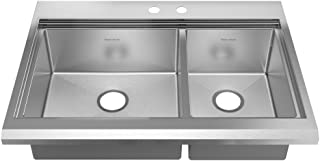 American Standard 11CR.253642.073 Prevoir Luxury Appliance 36-Inch Stainless Steel 2-Hole Double Combination Bowl Kitchen Sink with Accessories, Brushed Satin