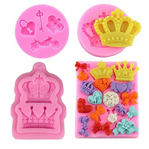 4PCS Crown Fondant Mold 3D Silikon Backform Kuchenform verzieren Schokolade Schimmel Seife Mold Backen Zuckerform Kuchen Verziert Werkzeug