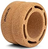 10 inch NATURAL CORK BACK ROLLER with SPINAL GROOVE, yoga wheel for back pain relief, EXTRA WIDE, provides MEDIUM TO DEEP PRESSURE myofascial and trigger point release, back stretcher for pain relief