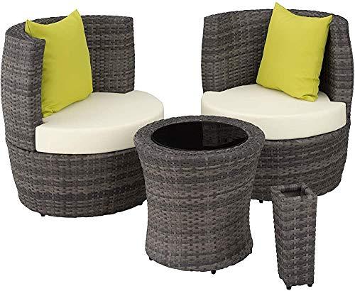 Aluminio balcón ratán conjunto de muebles, resistente a la intemperie, 8, ovalada ahorrar espacio de almacenamiento, dos plazas, una mesa, un jarrón que contiene. Almohada,Grey