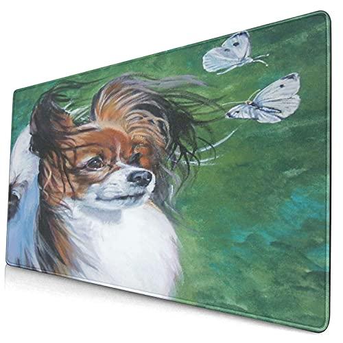 VINISATH Alfombrilla Gaming,Retrato de Perro Pet Realism L.A. Pastor Cachorro Papillon Mariposa Mariposa Repollo Blanco,con Base de Goma Antideslizante,750×400×3mm