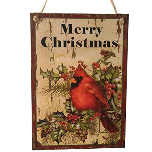 Christmas Hanging Plaque Bird Merry Christmas Wooden Pendant Festival Decoration for Office Store Home Door Window Wall