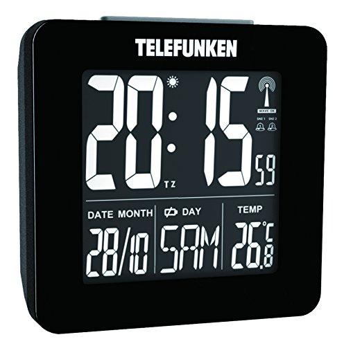 TELEFUNKEN Wecker Funkwecker digital LCD Negativ-Display kein Batterieverbrauch beim Betrieb mit USB-Kabel Temperaturanzeige und Kalender autom. Zeitumstellung schwarz FUX-260-HRB (B)