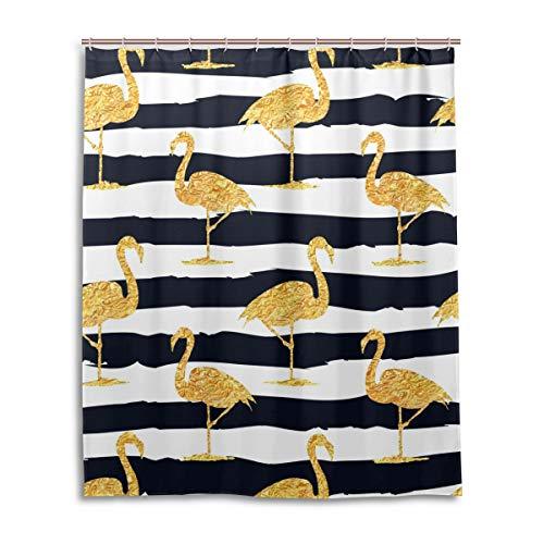 JSTEL Decor Rideau de Douche en Tissu 100% Polyester Motif Flamants Roses Doré 152 x 183 cm