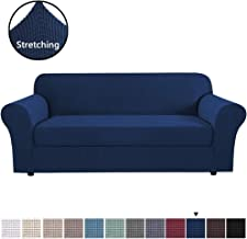 H.VERSAILTEX High Stretch Jacquard 2 Pieces Sofa Slipcover, Sofa Cover Navy, Couch Cover, Furniture Sofa Slip Covers for Living Room, Couch Covers for 3 Cushion Couch (Sofa Large Size, Navy Blue)
