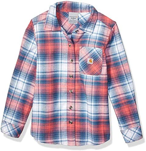 Carhartt Girls Big Flannel Shirt Calypso Coral Plaid 4 product image