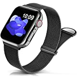 Sunnywoo Metal Stainless Steel Band Compatible with Apple Watch Bands 38mm 40mm 41mm 42mm 44mm 45mm,Black Loop Adjustable Strap Magnetic Wristband for iWatch Series 7 6 5 4 3 2 1 SE for Women Men