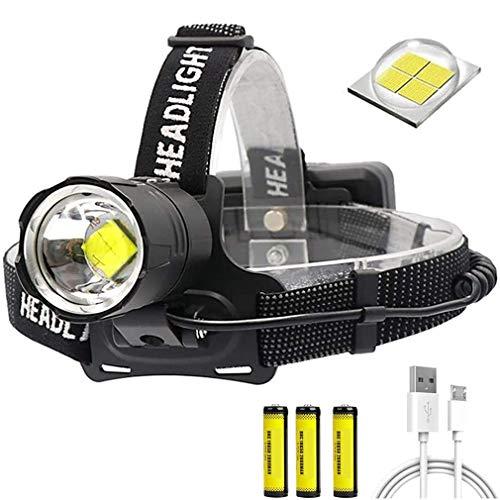RXLLSY Linterna Frontal LED Recargable XHP70 de 10000 lúmenes, luz Frontal con Zoom para Pesca Nocturna, Camping, Senderismo, espeleología y reparación de automóviles