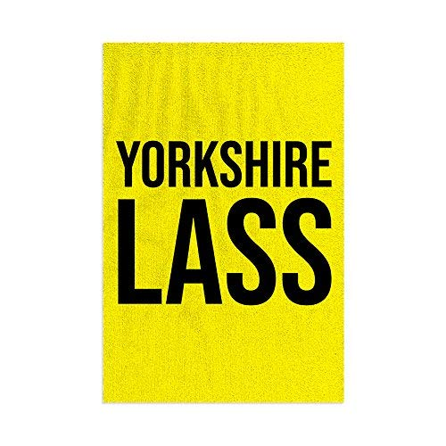 L&S PRINTS Yorkshire Lass - Toalla de playa de microfibra, diseño divertido de rayas, color amarillo