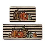 Atoid Mode Watercolor Stripes Pumpkin Decorative Kitchen Mats Set of 2, Home Seasonal Fall Holiday Party Autumn Harvest Thanksgiving Vintage Low-Profile Floor Mat - 17x29 and 17x47 Inch