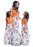 OMZIN Maxilangkleid Sommerkleid Sundress Blumenkleid A-Linie Kleid Mutter und Tochter Partykleid Maxiklangkleid Orangenblüte 2-3 Jahre