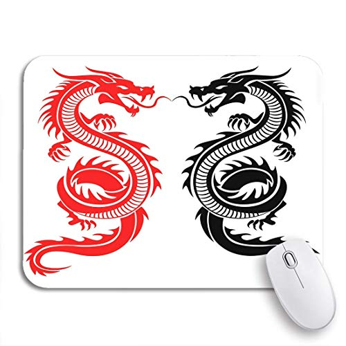 """MOBEITI Gaming Mouse Pad Chinese Black and Red Tribal Dragon Tattoo Japanese Asian 9.5""""x7.9"""" Nonslip Rubber Backing Computer Mousepad for Notebooks Mouse Mats"""