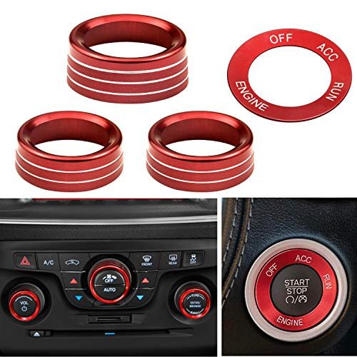Air Conditioner CD Switch Button Knob & Engine Start Button Cover Compatible with Dodge Challenger Charger Chrysler 300/300s 2015-2020 (Red)