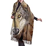Fendy-Shop Bufanda de cachemira con cabeza de lobo atrapasueños nativos del país occidental, bufandas de invierno suaves y ligeras para hombres y mujeres, chal con flecos