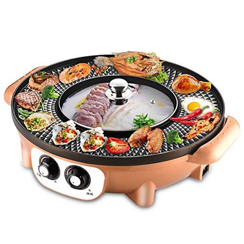 Ljings 2200W Elektrischer Rauchfreier Grill Und Hot Pot, BBQ & Shabu Shabu Für 2-8 Personen Familientreffen Freund Treffen, Unabhängige Temperaturregelung