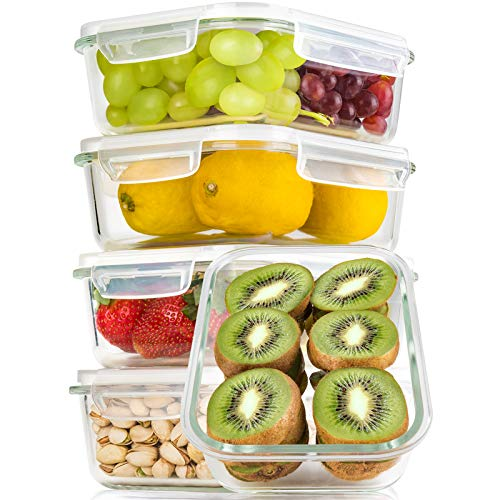 BAYCO Large Glass Meal Prep Containers, [5 Pack, 36oz | 4.5cups] Glass Food Storage Containers with Lids, Airtight Glass Bento Boxes, BPA Free & Leak Proof (5 lids & 5 Containers)