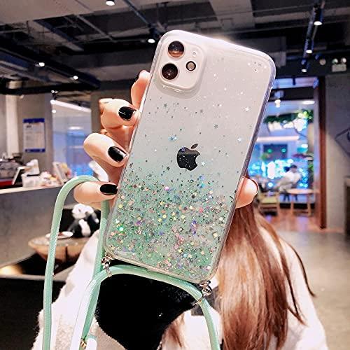Anceky Cadena de teléfono móvil con purpurina compatible con iPhone 11 Pro, funda con cordón, funda para el cuello, funda protectora transparente de silicona para iPhone 11 Pro