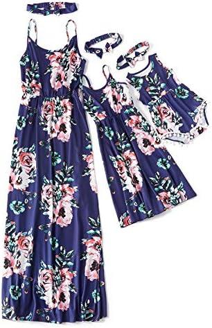 IFFEI Mommy and Me Matching Dress Spaghetti Strap Summer Casual Sundress Beach Sleeveless Dress product image