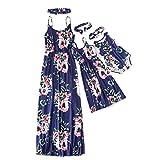 IFFEI Mommy and Me Matching Dress Spaghetti Strap Summer Casual Sundress Beach Sleeveless Dress with Headband Blue Womens Small