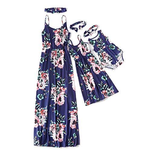 IFFEI Mommy and Me Matching Dress Spaghetti Strap Summer Casual Sundress Beach Sleeveless Dress with Headband Blue 6-7 Years