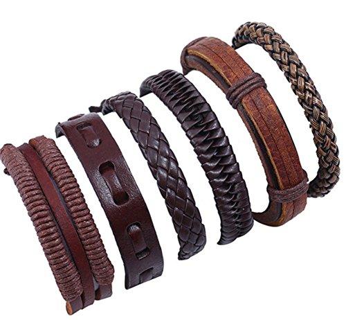Daliuing 6PCS DIY Woven Leather Bracelet Set