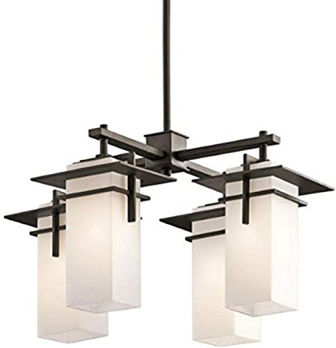 high quality Caterham 12.75 inch 4 Light Chandelier with Satin Etched Cased Opal discount Glass in Olde popular Bronze outlet online sale