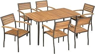 Tidyard Patio Dining Set, 7 Piece Outdoor Garden Furniture Set Solid Acacia Wood and Steel