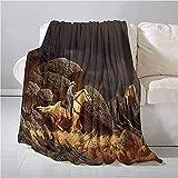 mallcentral-EU Manta al Aire Libre Occidental Una Escena de montaña de Roca Paisaje con un Vaquero Montar a Caballo Estilo de América Impresión Popular, Durabl Gold Grey