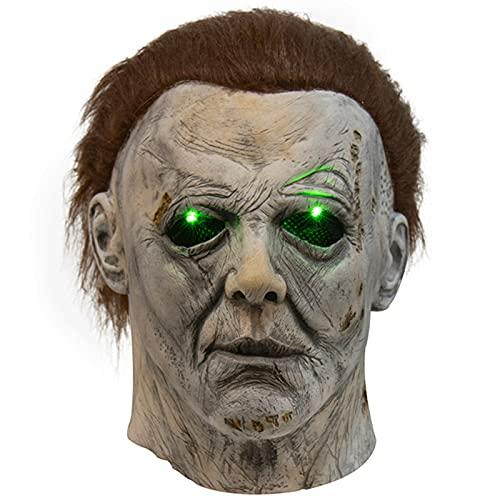 Cytteroa Máscara de Michael Myers Cabeza de Látex, Máscara de Monstruo con Modos de Iluminación, Michael Myers Máscara LED, Máscara de Látex de Goma para Halloween Fiesta de Disfraces Decoración