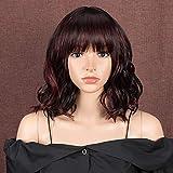 Style Icon Peluca de 11 pulgadas Bob sintético peluca Ombre Borgoña corto ondulado calidad Pelucas con flequillo vino rojo Pelucas para las mujeres aspecto natural fibra resistente al calor