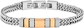 Men's Stainless Steel Double Franco Chain Bracelet with Extension
