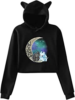 I Love You to The Moon & Back - Toothless and Light Fury Women's Long Sleeve Print Cute Cat Ear Pullover Hoodie