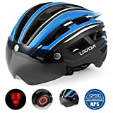 Lixada Bike Helmet with Detachable Magnetic Goggles Visor and LED Back Light Mountain & Road Bicycle Helmets Adjustable Size UV Protective Adult Cycling Helmets
